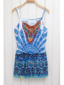 Ethnic Print Cami Beaded Playsuit - Blue S