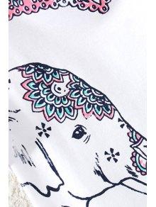 Floral Elephant Print Short Sleeve T-Shirt