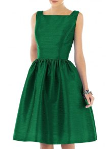 Square Neck Fit And Flare Green Dress - Green Xl