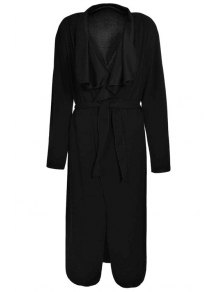 Turn-Down Collar Solid Color Asymmetrical Trench Coat - Black Xl