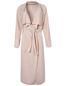 Turn-Down Collar Solid Color Asymmetrical Trench Coat