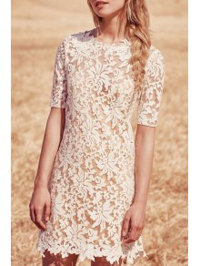 Jewel Neck Floral Pattern See-Through Dress - White Xl
