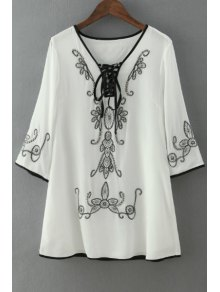 Tie-Up Black Floral Embroidery 3/4 Sleeve Dress