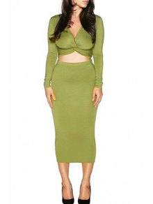 Long Sleeve Front Twist Crop Top And Pencil Skirt Suit - Green L