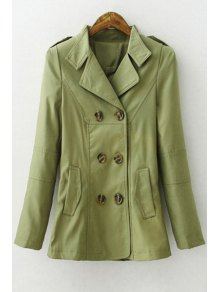 Solid Color Lapel Long Sleeves Trench - Army Green L
