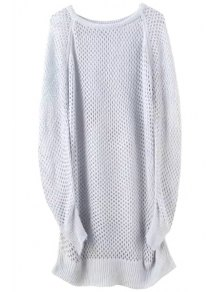 Loose-Fitting Long Hollow Sweater