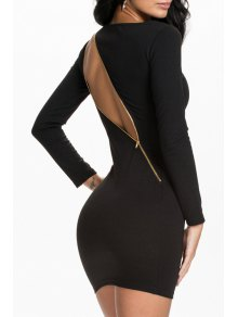 Black Long Sleeve Zipper Bodycon Dress - Black L