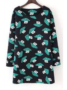 Scoop Neck Mushroom Print Long Sleeve Dress - Purplish Blue L