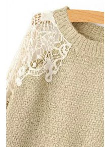 Lace Splicing Openwork Long Sleeve Sweater