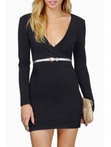 Plunging Neck Long Sleeve Bodycon Dress - Black L