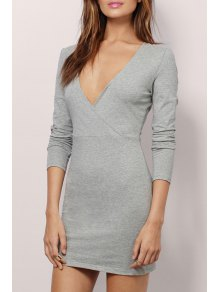 Plunging Neck Long Sleeve Bodycon Dress - Gray S