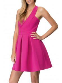Crisscross Back A-Line Dress - Rose 2xl