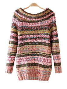Turn-Down Collar Colorful Stripe Long Sleeve Cardigan - PINK ONE SIZE(FIT SIZE XS TO M)