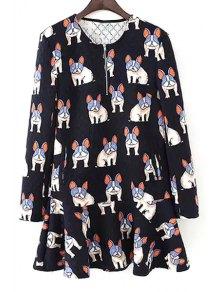 Dogs Print Long Sleeve Dress