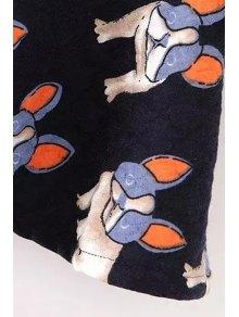 Dogs Print Long Sleeve Dress - BLACK S