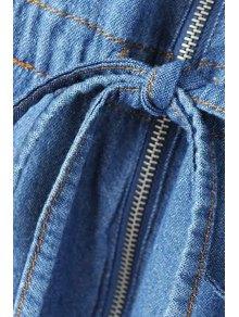 Pocket Bleach Wash Zipper Denim Dress