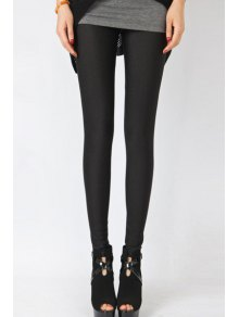 Candy Color Elastic Leggings - Black