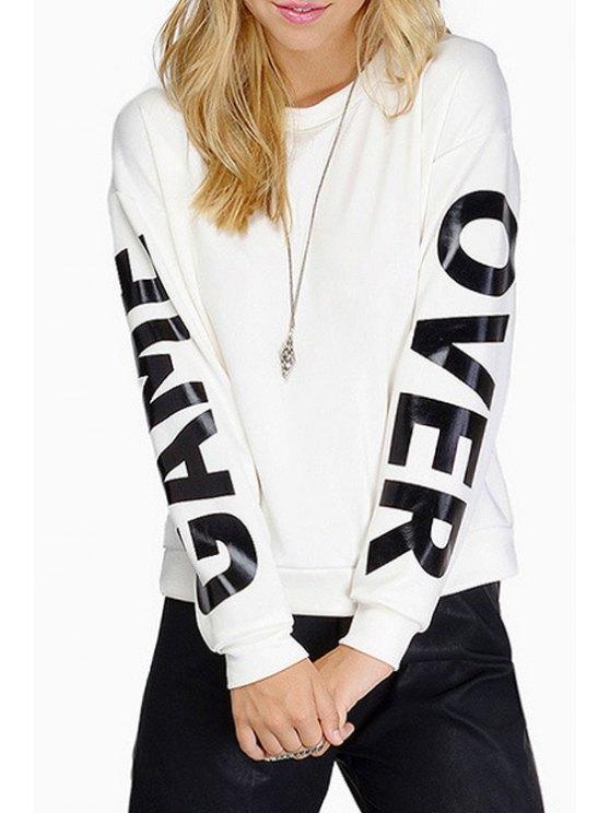 trendy White Letter Pattern Sweatshirt - WHITE S