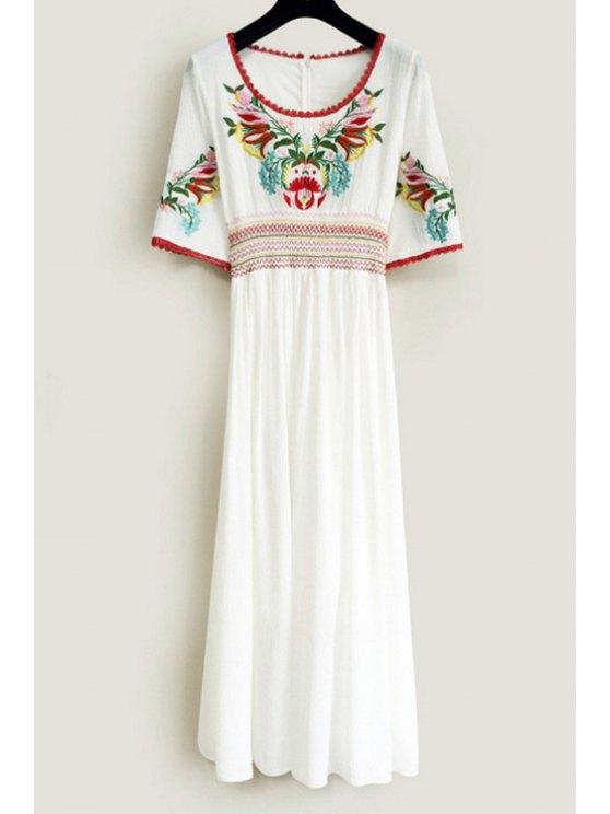unique Scoop Neck Floral Embroidery Dress - WHITE S