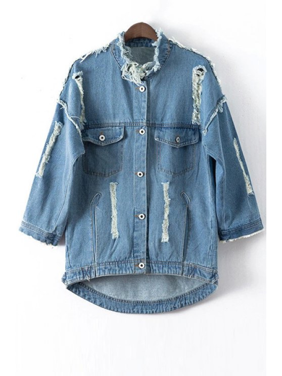 affordable Broken Hole Arrow Pattern Denim Coat - BLUE S
