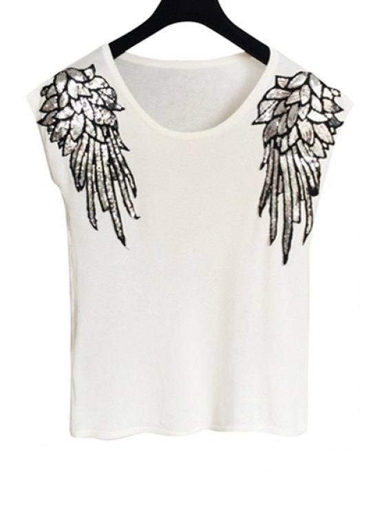 shops Wing Pattern Sequins Short Sleeve T-Shirt - WHITE ONE SIZE(FIT SIZE XS TO M)