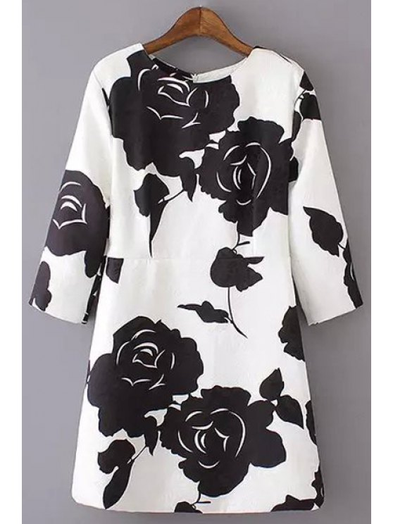 outfit 3/4 Sleeve Black Rose Dress - WHITE S