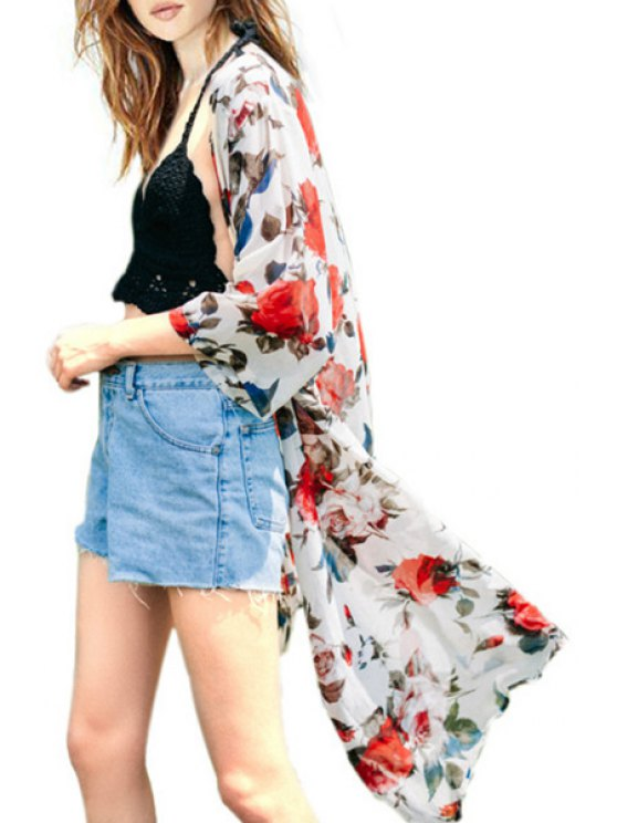 chic Collarless 3/4 Sleeve Floral Blouse - WHITE S