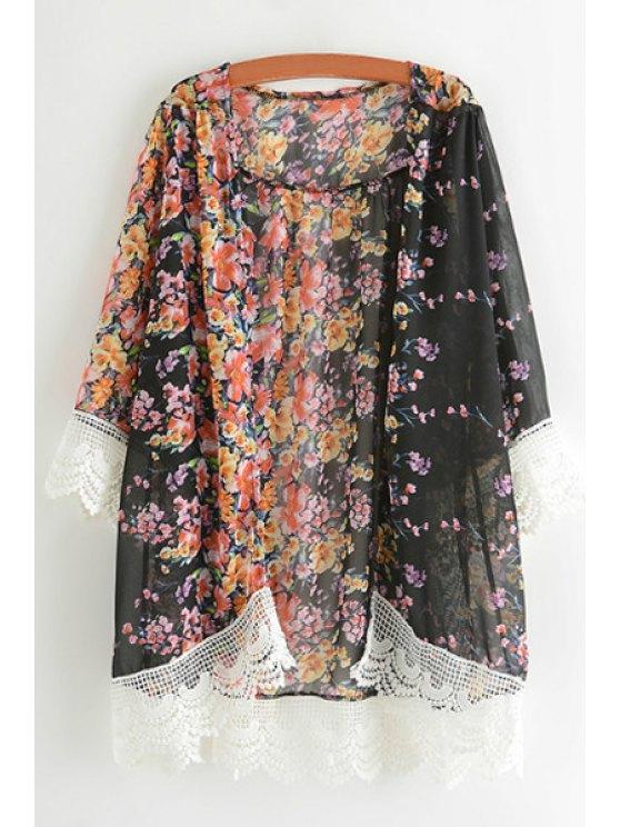 shops Tiny Floral Print Lace Spliced Blouse - BLACK S