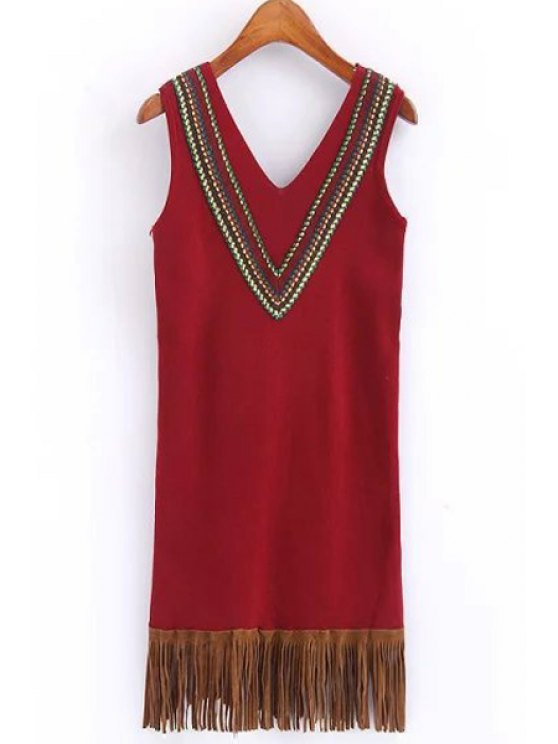 sale Sleeveless Tassels Sweater Dress - RED ONE SIZE(FIT SIZE XS TO M)
