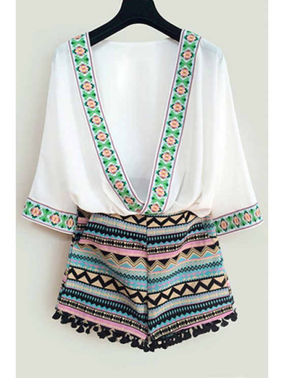outfit Argyle Embroidery 3/4 Sleeve Blouse + Shorts - WHITE S