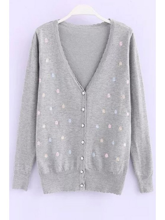 ladies Tiny Flower Single-Breasted Cardigan - GRAY ONE SIZE(FIT SIZE XS TO M)