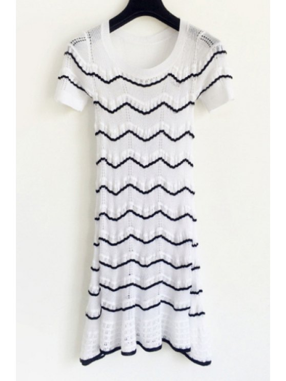 best Black Zig Zag Short Sleeve Dress - WHITE S