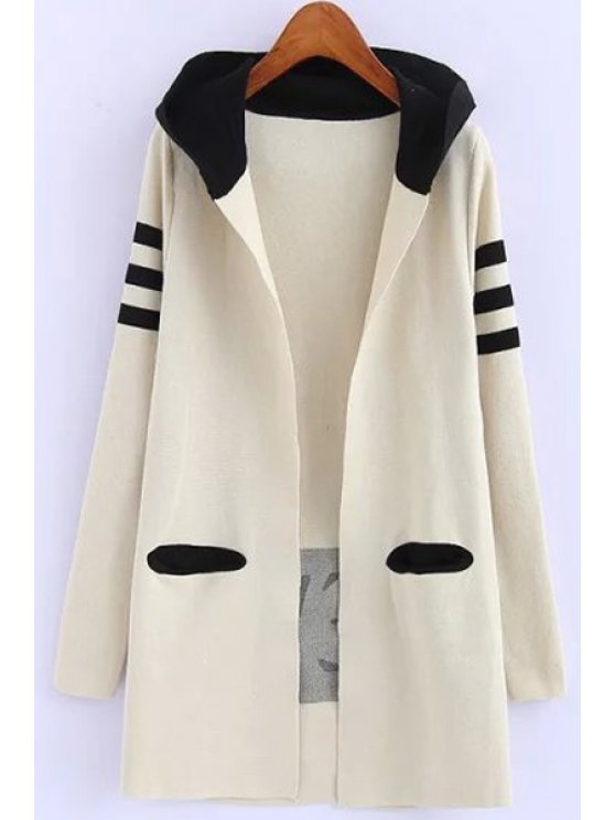 shop Hooded Pocket Design Long Cardigan - OFF-WHITE ONE SIZE(FIT SIZE XS TO M)