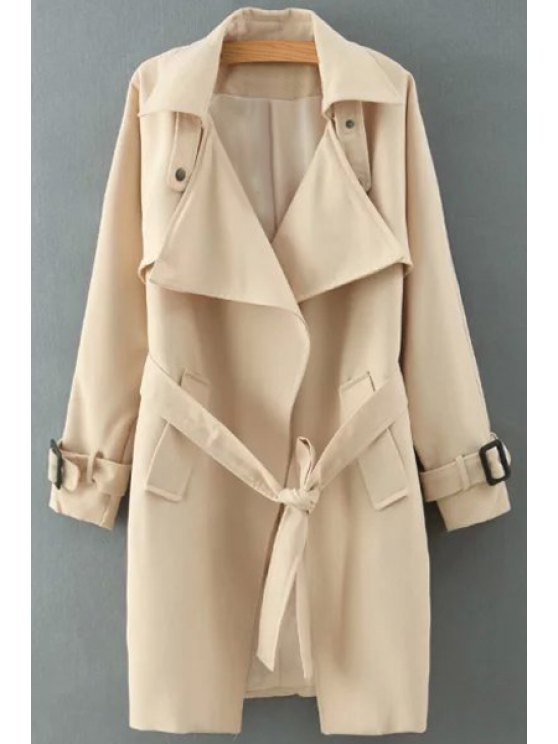 new Solid Color Self-Tie Belt Trench Coat - KHAKI S