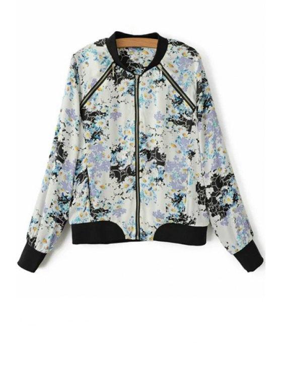 fancy Full Floral Print Baseball Jacket - WHITE S
