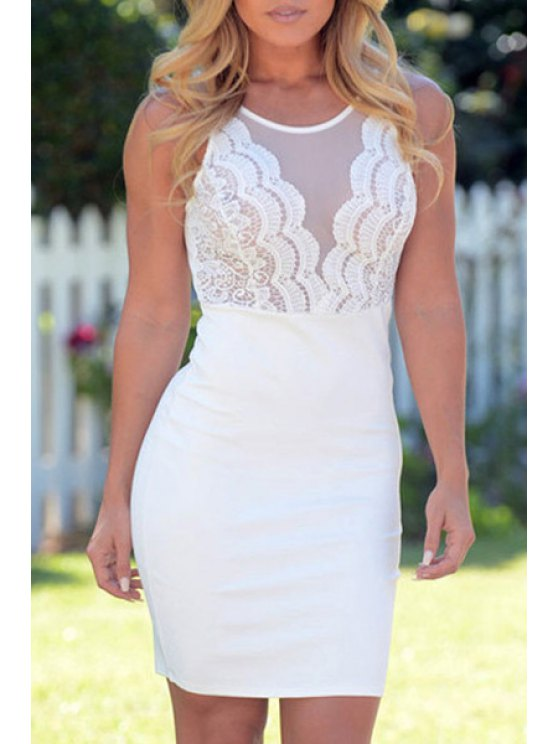 chic Scoop Neck See-Through Lace Splicing Dress - WHITE ONE SIZE(FIT SIZE XS TO M)