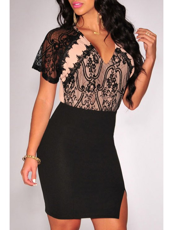affordable V Neck Black Lace Splicing Short Sleeve Dress - BLACK ONE SIZE(FIT SIZE XS TO M)