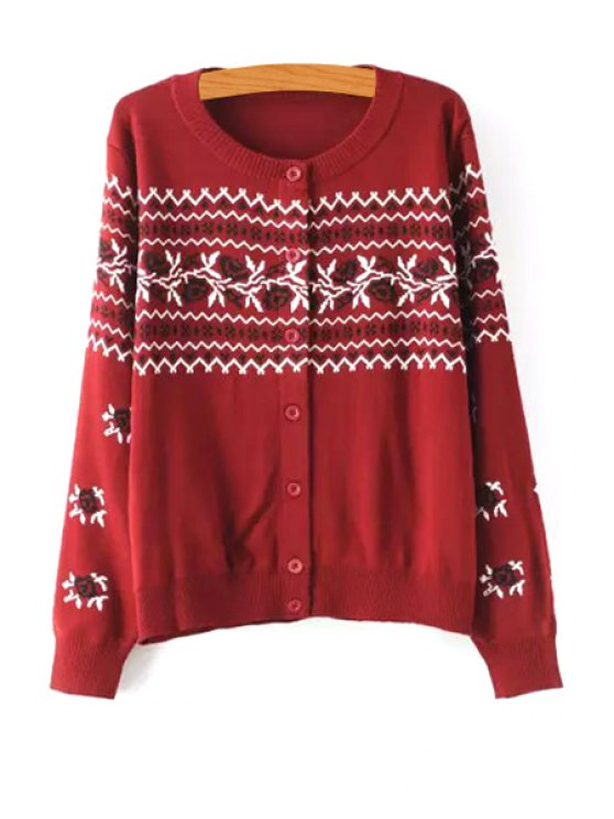 trendy Single-Breasted Jacquard Cardigan - RED ONE SIZE(FIT SIZE XS TO M)