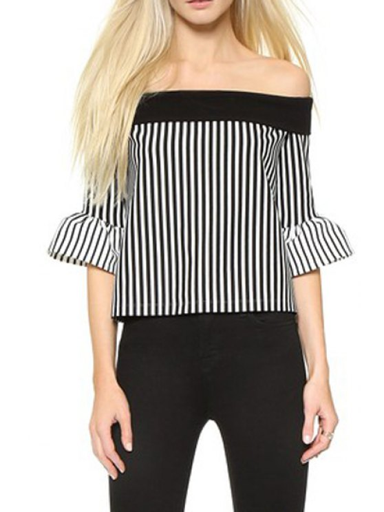 womens Slash Neck Ruffle Sleeve Striped Sweater - BLACK ONE SIZE(FIT SIZE XS TO M)