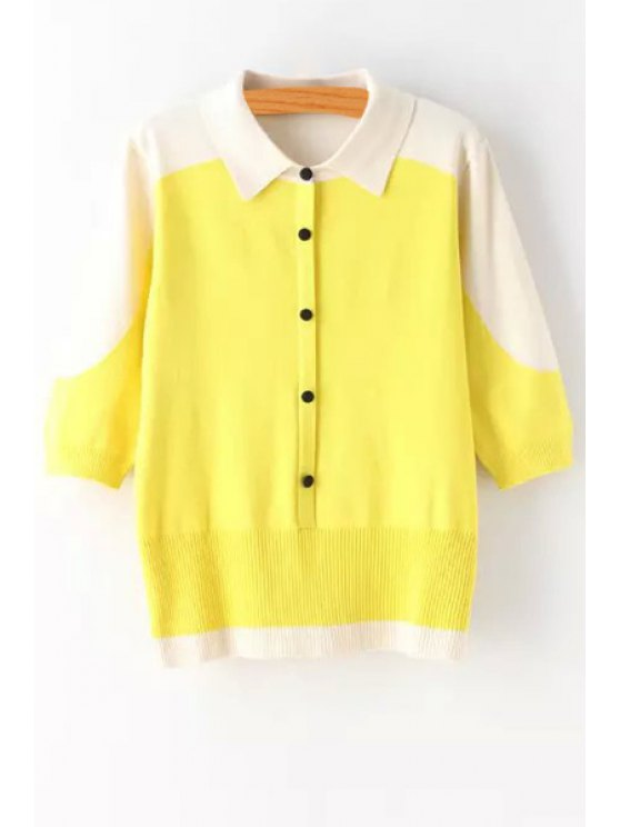 ladies Turn-Down Collar Hit Color Cardigan - YELLOW ONE SIZE(FIT SIZE XS TO M)