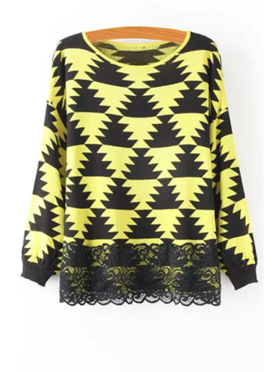 online Geometric Pattern Lace Spliced Sweater - YELLOW ONE SIZE(FIT SIZE XS TO M)