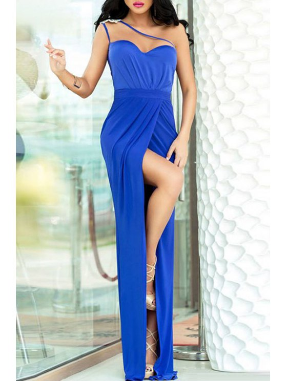 outfit Spaghetti Strap Backless High Split Dress - BLUE ONE SIZE(FIT SIZE XS TO M)
