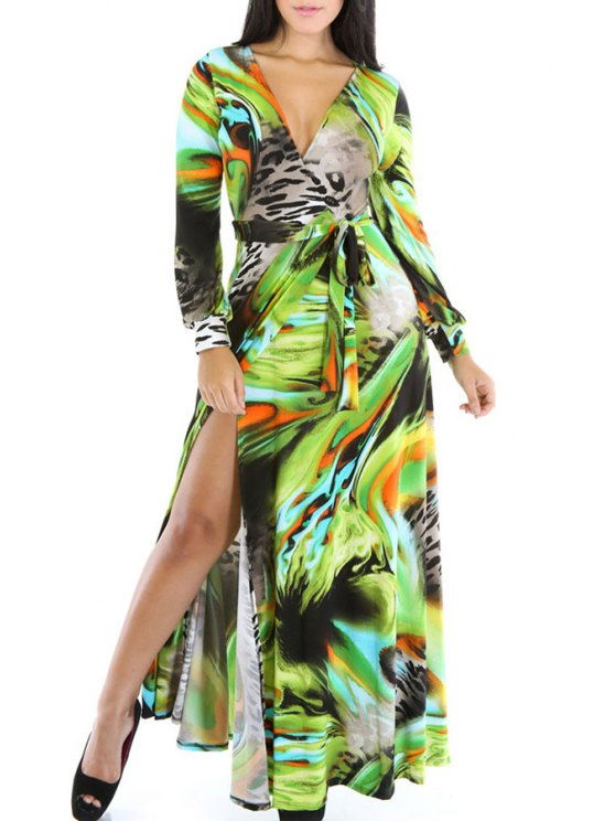 shop V Neck Color Block Printed Dress - GREEN ONE SIZE(FIT SIZE XS TO M)