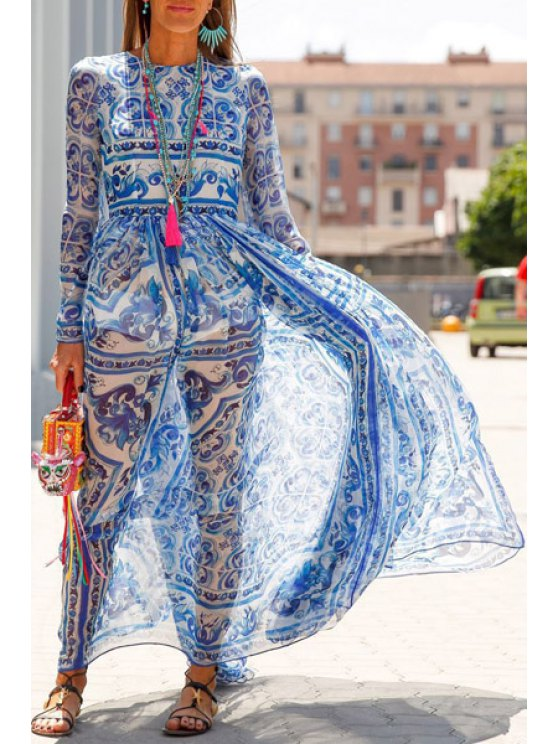 womens White and Blue Porcelain Maxi Dress - BLUE AND WHITE S