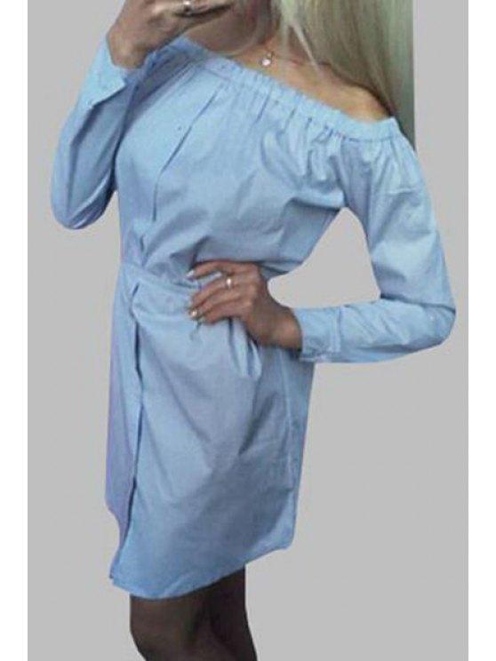 lady Slash Neck Solid Color Long Sleeve Dress - AZURE S