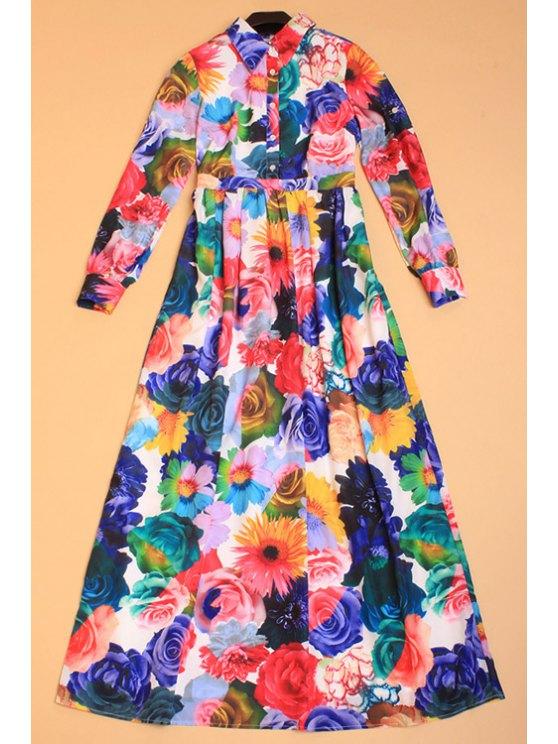 lady Shirt Collar Floral Print Maxi Dress - COLORMIX S
