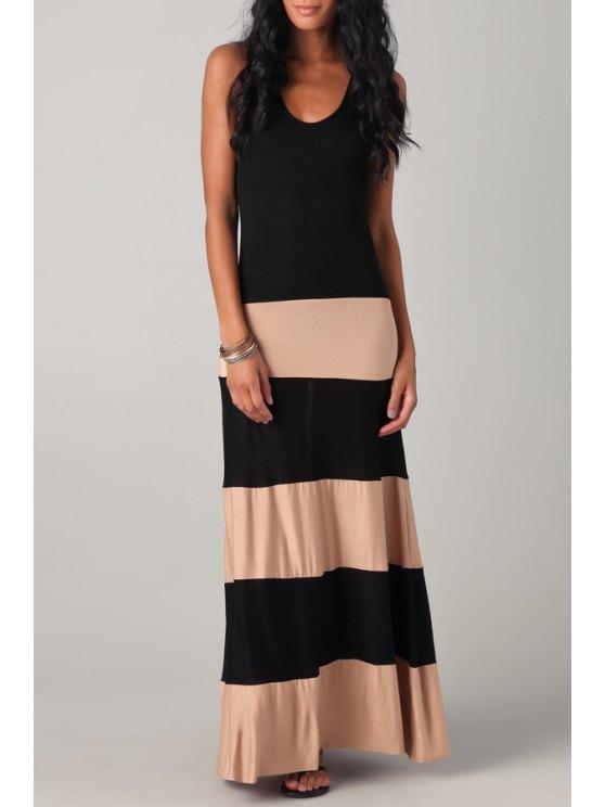 fashion Scoop Neck Color Block Stripes Maxi Dress - BLACK S