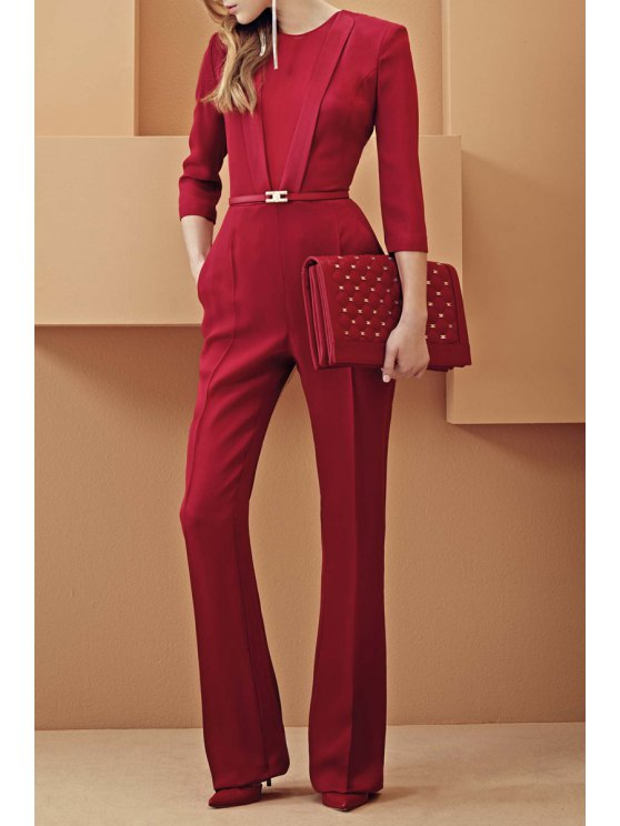 hot Jewel Neck Solid Color 3/4 Sleeve Jumpsuit - RED S