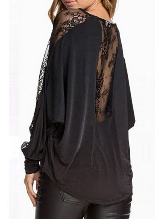 affordable Dolman Sleeve Lace Spliced T-Shirt - BLACK S