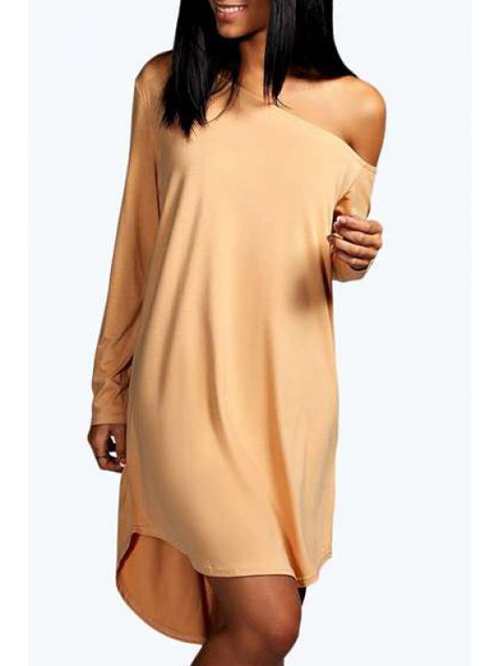 buy One-Shoulder Long Sleeve Dress - APRICOT S